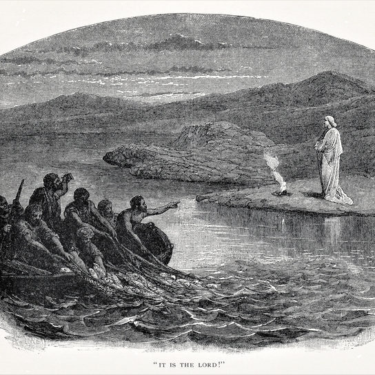 After Jesus Christ resurrected he showed himself to his apostles who were fishing in a boat. Illustration published in The Life of Christ by Louise Seymour Houghton (American Tract Society: New York) in 1890. Copyright expired; artwork is in Public Domain. Digitally restored.